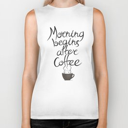 Morning Coffee Cat Biker Tank