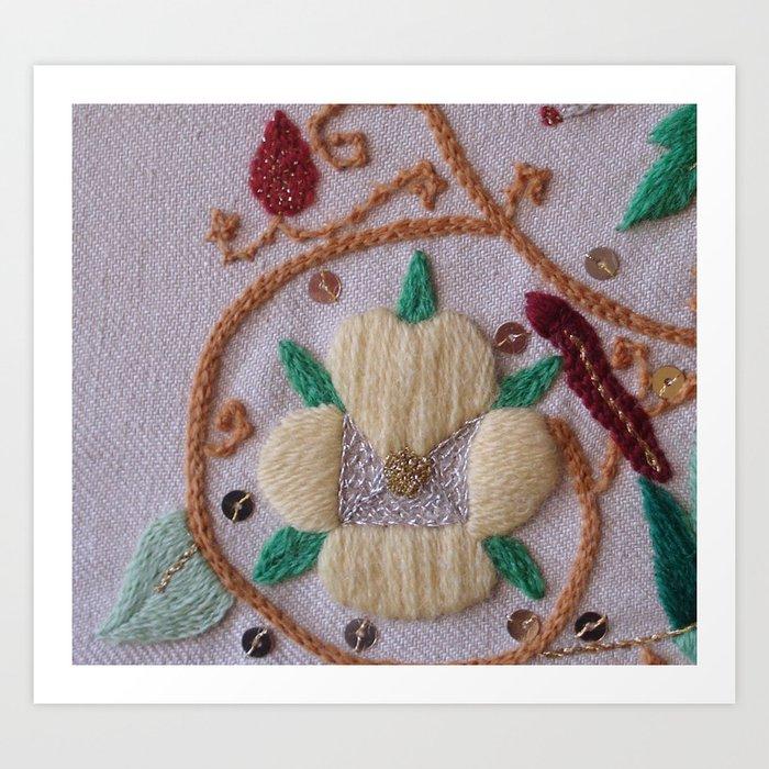 Elizabethan Embroidery Pansy Art Print By Margueritegibsonart Society6