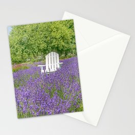 White Chair in a Field of Purple Lavender Flowers Stationery Cards