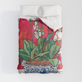 Orchid in Blue-and-white Bird Pot on Red after Matisse Comforters