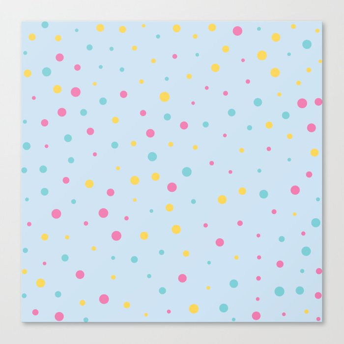 Multicolour Polka Dots on Blue Background Canvas Print
