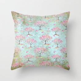 Spring Flowers - Cherry Blossom  Tree Pattern Throw Pillow