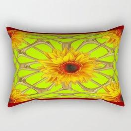 Nut Brown Chartreuse Sunflowers Metallic Gold Web Art Rectangular Pillow