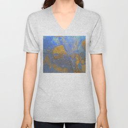 Blue and Orange Marble Pattern Unisex V-Neck