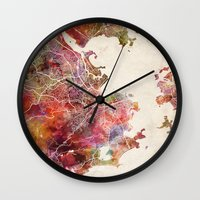rio de janeiro Wall Clocks featuring Rio de Janeiro by MapMapMaps.Watercolors