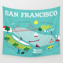 San Francisco, California - Collage Illustration by Loose Petals Wall Tapestry