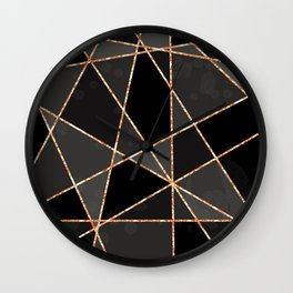 Black and grey shapes with orange lines Wall Clock