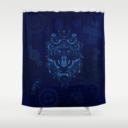 Sacred Blue Wolf Shower Curtain