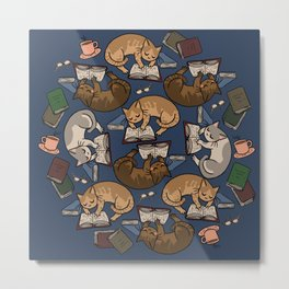 Book Cats Metal Print