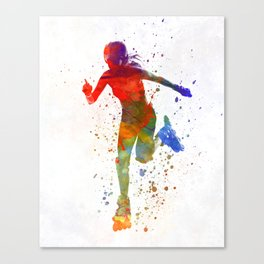 Woman in roller skates 12 in watercolor Canvas Print