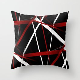 Seamless Red and White Stripes on A Black Background Throw Pillow