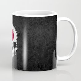 Flag of Japan on a Chaotic Splatter Skull Coffee Mug