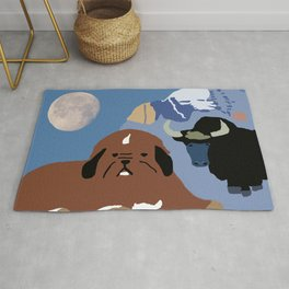 Tibetan Mastiff And Yak Rug