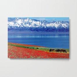Sea of Red Poppies & Wild Mustangs Metal Print