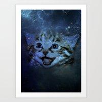 Galaxy Happy Cat Art Print