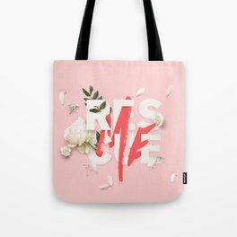 RESCUE ME | Digital typography floral poster pink Tote Bag