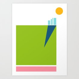 Morning Skyscrapers with park and road Art Print
