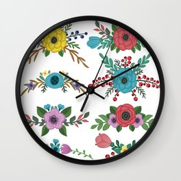 Flower Clorful Collection Wall Clock