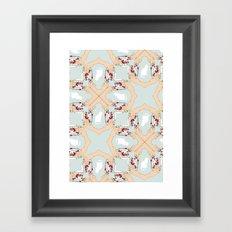 Tea and Cat Pattern Framed Art Print