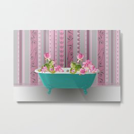 Frogs with Lotos Flowers and Bathtub Metal Print