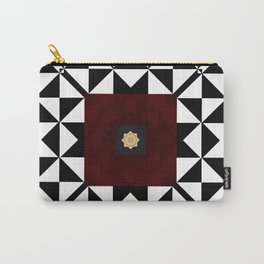 Ruby Red Marble w/ Blk & White Geometrica Pattern Insert Carry-All Pouch