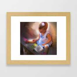 Baby Reads Bible Framed Art Print
