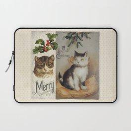 Merry Catmas vintage cat xmas illustration Laptop Sleeve