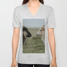 Sheeply in Love - Animal Photography from Iceland Unisex V-Neck