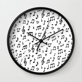 Music notes in black and white Wall Clock
