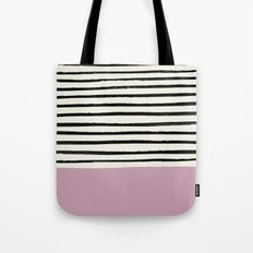 Dusty Rose & Stripes Tote Bag