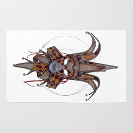 Male Venetian Jester Mask | Watercolor and Colored Pencil  Rug