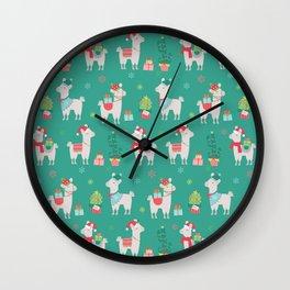 Christmas llamas III Wall Clock