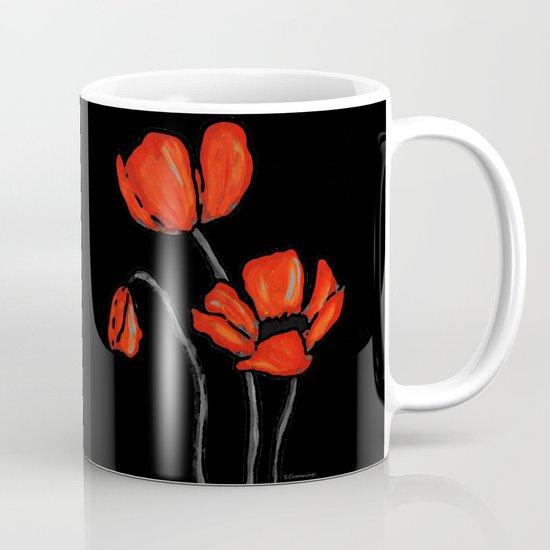 Red Poppies On Black by Sharon Cummings  Mug