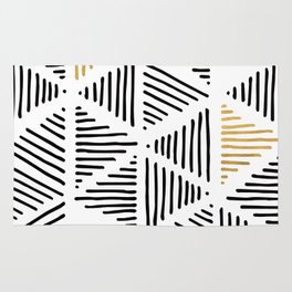 Simple Geometric Zig Zag Pattern-Black Gold White -Mix & Match with Simplicity of life Rug