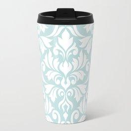 Flourish Damask Big Ptn White on Duck Egg Blue Travel Mug