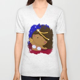 Ruby - Fun, sweet, unique, creative and very colorful, original,digital children illustration Unisex V-Neck