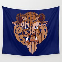 beauty and the beast Wall Tapestries featuring beast by Rebecca McGoran