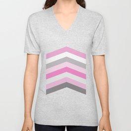 Pink and gray chevron Unisex V-Neck