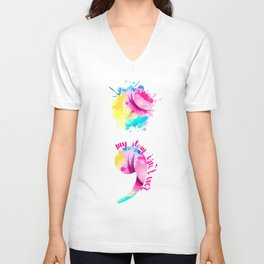 Watercolour Semi-Colon Unisex V-Neck