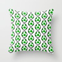yoshi Throw Pillows featuring Yoshi Eggs by Rebekhaart