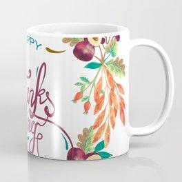 Autumn foliage wreath, thanksgiving typography Coffee Mug