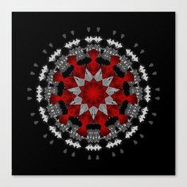 Bright Red Silver Star Flower Mandala Canvas Print