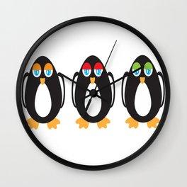 Nonchalant Penguins Wall Clock