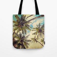 Vintage Blue Hawaii Palm Trees Tote Bag
