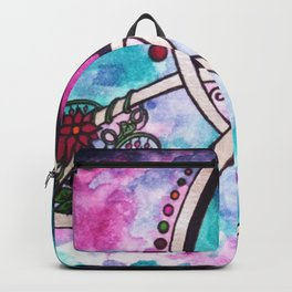 Bright Beautiful Watercolor Celtic Pagan Triquetra Backpack