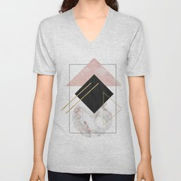 Minimal Geometry Abstract Art With Marble Rose And Gold Unisex V-Neck