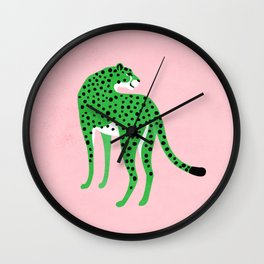 The Stare 2: Tropical Green Cheetah Edition Wall Clock