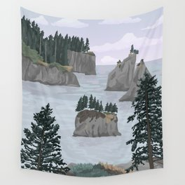 Olympic National Park Poster, Washington, illustrated National Parks USA Wall Tapestry