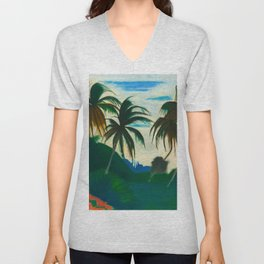 Tropical Scene with Palms and Flowers by Joseph Stella Unisex V-Neck