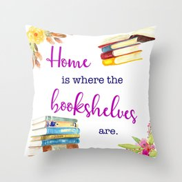 Home is Where the Bookshelves Are Throw Pillow